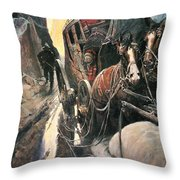 Stagecoach Robbers Throw Pillow