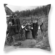 Stagecoach Robbery, 1911 Throw Pillow
