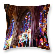 Stain Glass Cathedral Throw Pillow