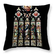 Stained Glass At St. John's Throw Pillow