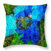Stained Glass Blue Poppy One Throw Pillow