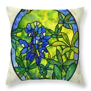Stained Glass Bluebonnet Throw Pillow
