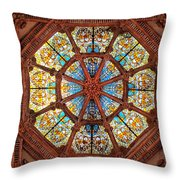 Stained Glass Ceiling Window Throw Pillow