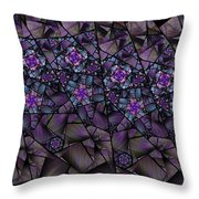 Stained Glass Floral II Throw Pillow