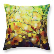 Stained Glass Forest Throw Pillow