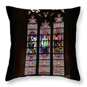 Stained Glass Glory Of St Patricks Throw Pillow