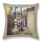 Stained Glass Heart Throw Pillow