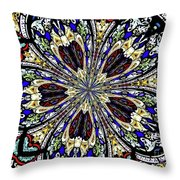Stained Glass Kaleidoscope 38 Throw Pillow