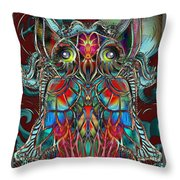 Stained Glass Owl  Throw Pillow