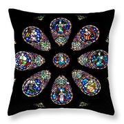 Stained Glass Rose Window In Lisbon Cathedral Throw Pillow