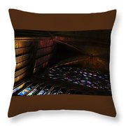 Stained Glass Sunset Notre Dame Paris Throw Pillow
