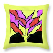 Tree - Stained Glass Watercolor Throw Pillow