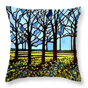 Stained Glass Trees Throw Pillow