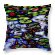 Stained Glass Water Lilies Throw Pillow