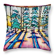 Stained Glass Watercolor Winter Pine Trees Throw Pillow