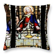 Stained Glass Window Last Supper Saint Giles Cathedral Edinburgh Scotland Throw Pillow