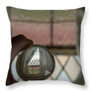 Stained Glass Window With Curtains In Crystal Ball Throw Pillow