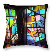 Stained Glass With Crucifix Silhouette Throw Pillow
