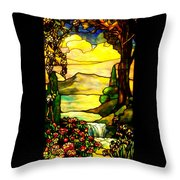 Stained Landscape Throw Pillow