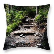 Stair Stone Walkway In The Forest Throw Pillow