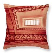 Staircase In Red Throw Pillow