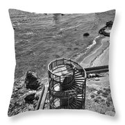Stairs To Nowhere Pismo Beach Black And White Throw Pillow by Priya Ghose