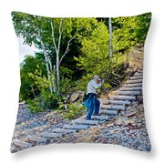 Stairway From Lake Superior Beach To Au Sable Lighthouse In Pictured Rocks National Lakeshore-michig Throw Pillow