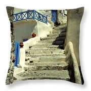 Stairway In Santorini Throw Pillow