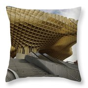 Stairway Leading Up To Metropol Parasol In The Plaza Of The Inca Throw Pillow