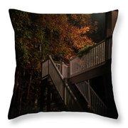 Stairway To Autumn Leaves Throw Pillow
