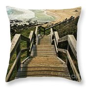 Stairway To Beach Throw Pillow