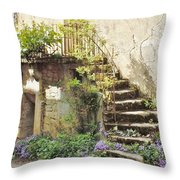 Stairway With Flowers Flavigny France Throw Pillow
