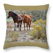 Stallion And Mare Throw Pillow
