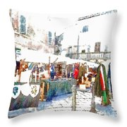 Stalls With Medieval Objects Throw Pillow