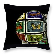 Butterfly Postage Stamp Art Print Throw Pillow