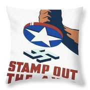 Stamp Out The Axis - Restored Throw Pillow