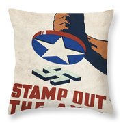 Stamp Out The Axis - Vintagelized Throw Pillow