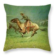 Stampede By Lightning, Digitally Enhanced, Frederic Remington Throw Pillow
