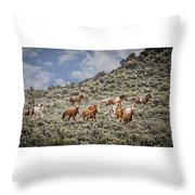 Stampede In The Sage Throw Pillow