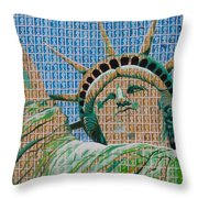 Stampue Of Liberty Throw Pillow