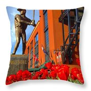 Stan Musial Statue On Opening Day  Throw Pillow