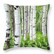 Stand Of Birch Throw Pillow
