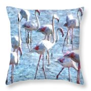 Stand Out In The Crowd Flamingo Watercolor Throw Pillow