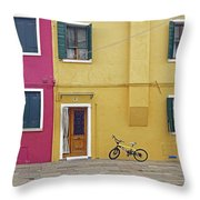 Standing By For A Quick Get Away In Burano Italy Throw Pillow