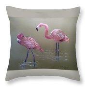Standing Flamingos Throw Pillow