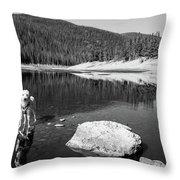 Standing In Comanche Reservoir Throw Pillow