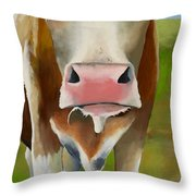 Standing In Field Throw Pillow
