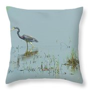 Standing In The Marshes Throw Pillow
