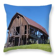 Standing Old Wooden Barn  Throw Pillow