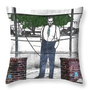 Standing On A Corner In Asheville Carolina Throw Pillow